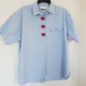 Levi's Travelers Vintage Denim Shirt With Roses